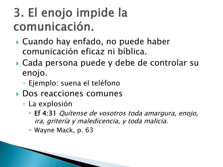 3. El enojo impide la comunicación.