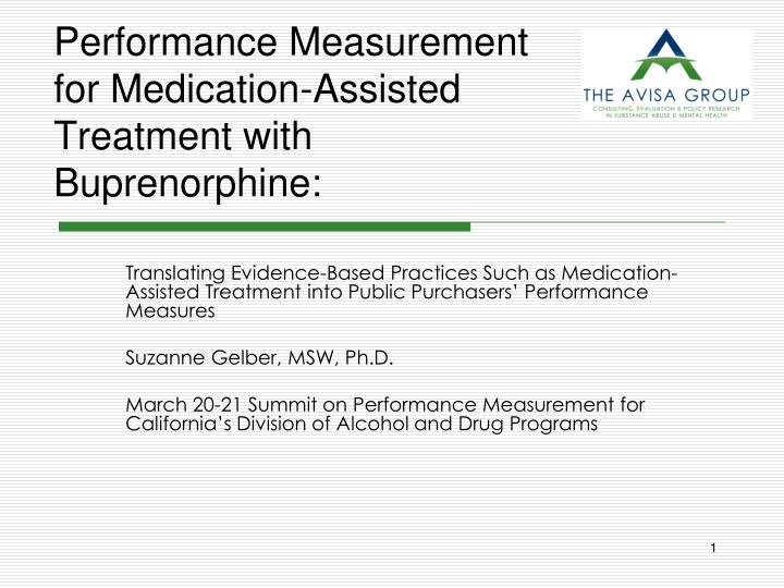 performance measurement for medication assisted treatment with buprenorphine n.
