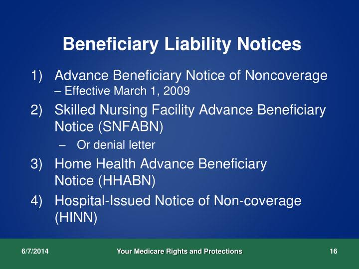 Beneficiary Liability Notices