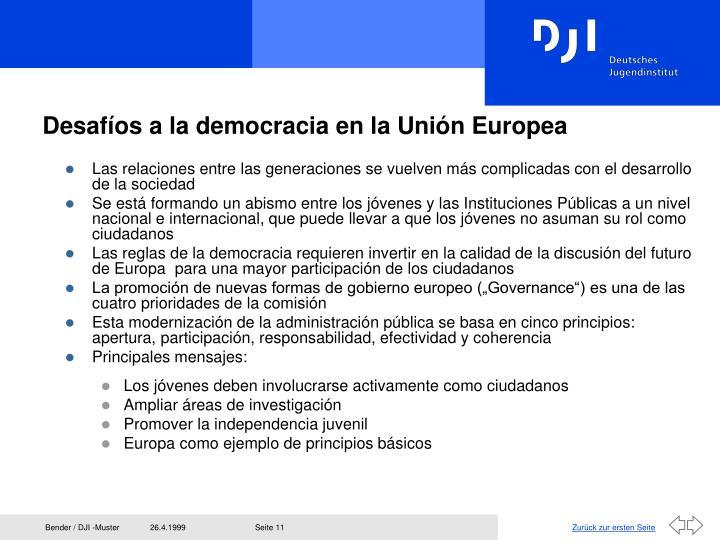 Desafíos a la democracia en la Unión Europea