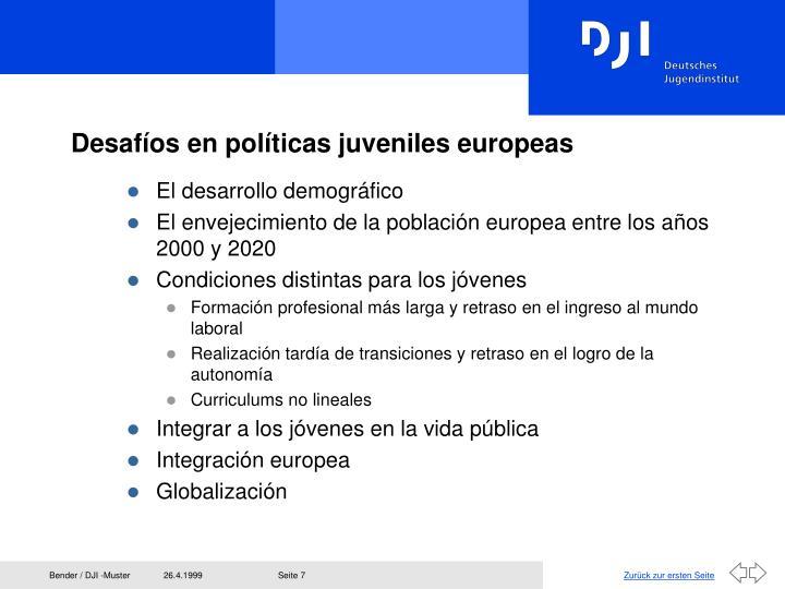 Desafíos en políticas juveniles europeas