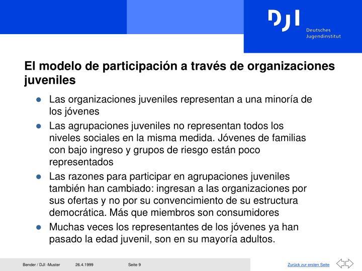 El modelo de participación a través de organizaciones juveniles