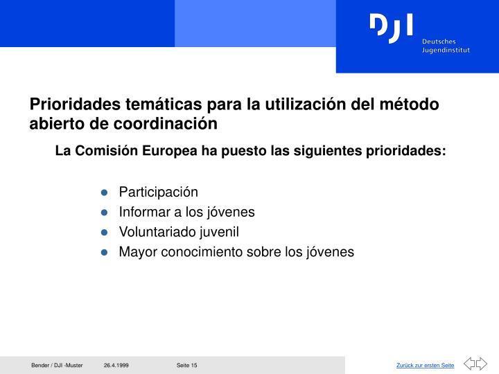 Prioridades temáticas para la utilización del método abierto de coordinación