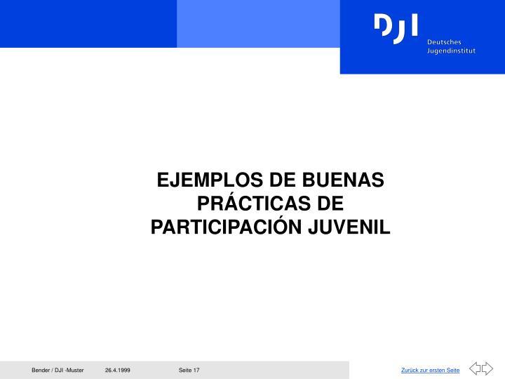EJEMPLOS DE BUENAS PRÁCTICAS DE PARTICIPACIÓN JUVENIL