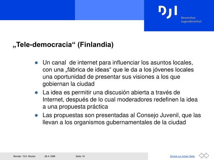 """""""Tele-democracia"""" (Finlandia)"""