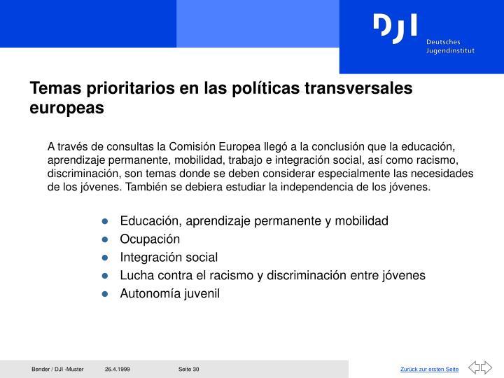 Temas prioritarios en las políticas transversales europeas