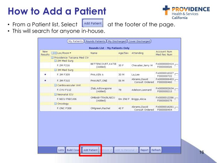How to Add a Patient