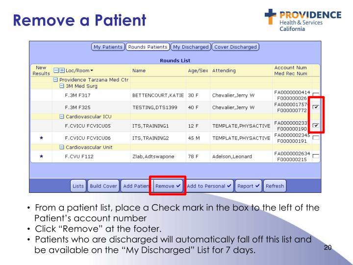 Remove a Patient