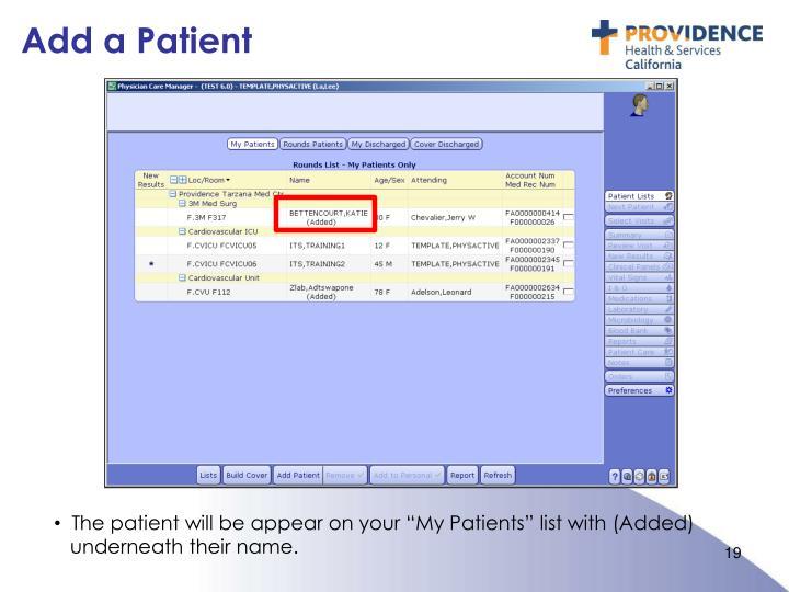 Add a Patient