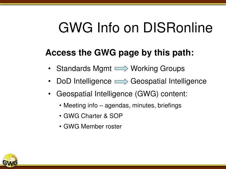 GWG Info on DISRonline