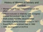 history of women in military and combat