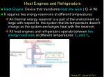 heat engines and refrigerators
