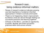 research says being evidence informed matters