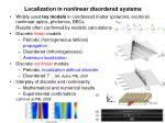 localization in nonlinear disordered systems