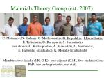 materials theory group est 2007