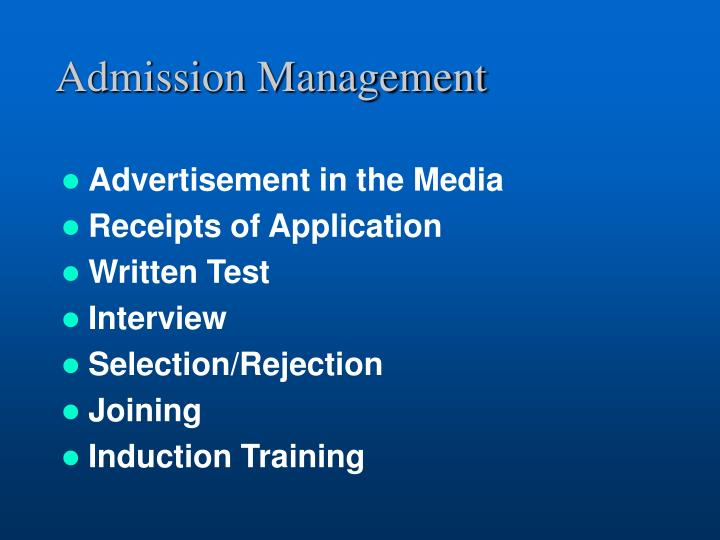 Admission management