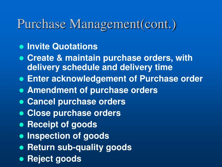 Purchase Management(cont.)