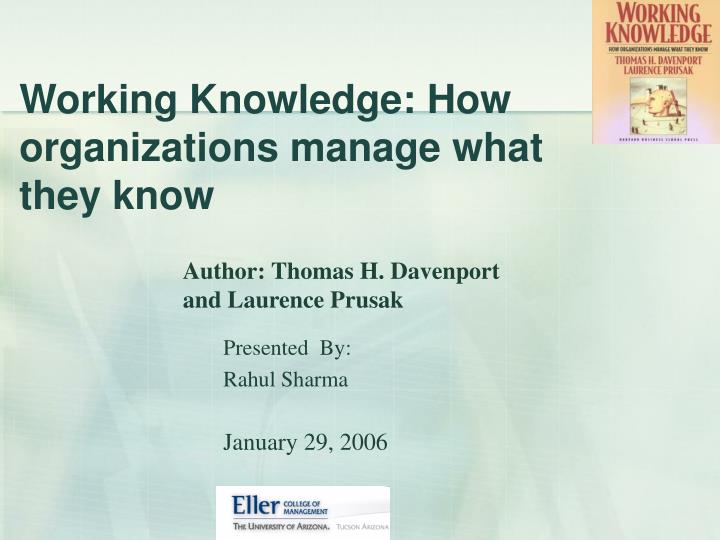 working knowledge how organizations manage what they know n.