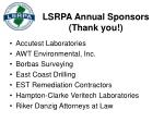 lsrpa annual sponsors thank you