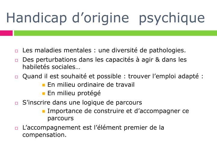 Handicap d origine psychique