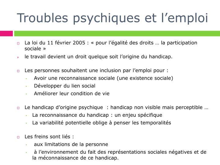 Troubles psychiques et l emploi