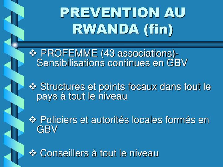 PREVENTION AU RWANDA (fin)