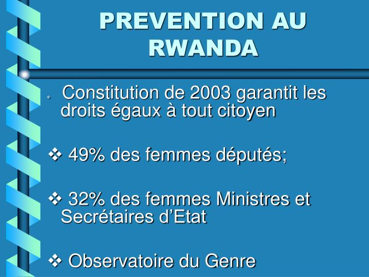 PREVENTION AU RWANDA
