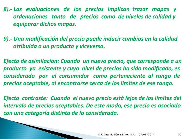 8).- Las   evaluaciones   de   los   precios   implican  trazar   mapas   y