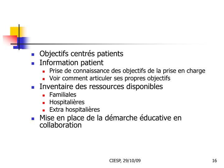 Objectifs centrés patients