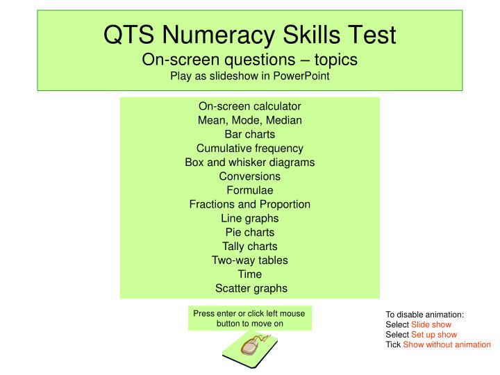 qts numeracy skills test on screen questions topics play as slideshow in powerpoint n.