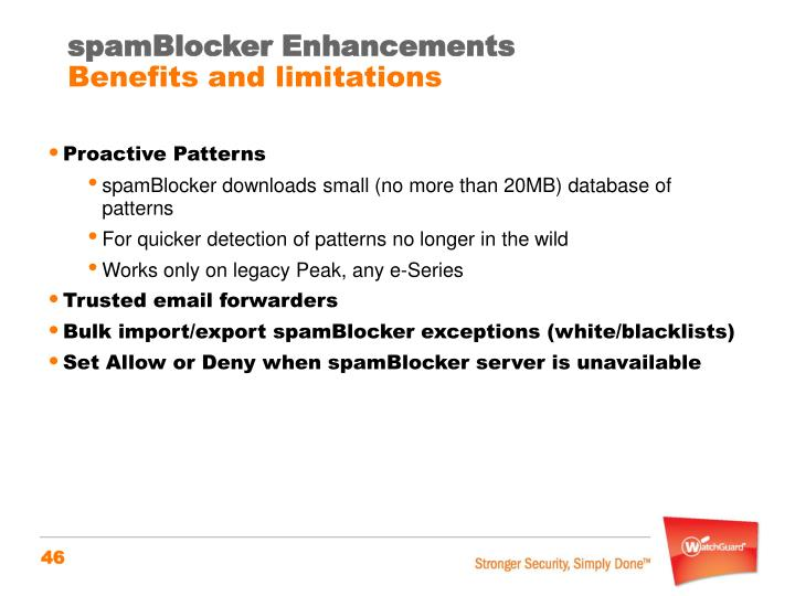 spamBlocker Enhancements