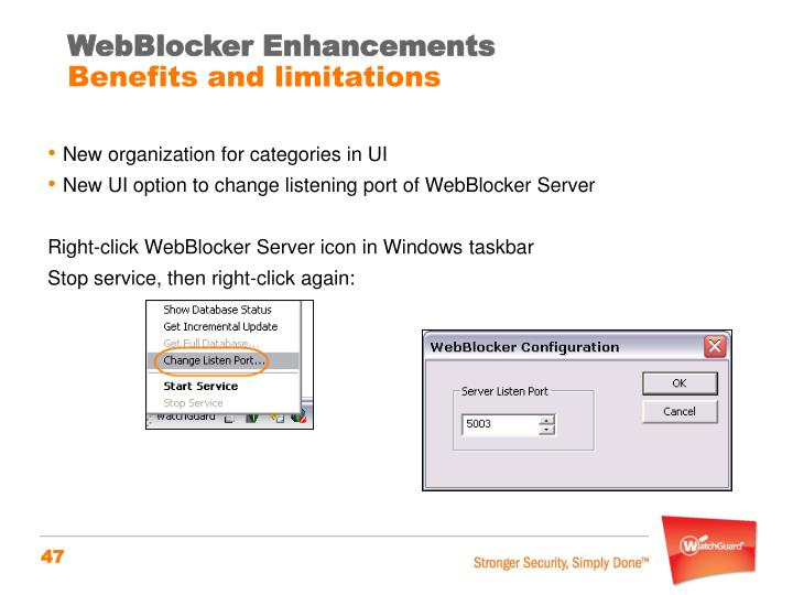 WebBlocker Enhancements