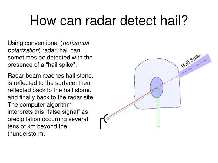 How can radar detect hail?