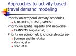 approaches to activity based travel demand modeling