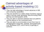 claimed advantages of activity based modeling 1