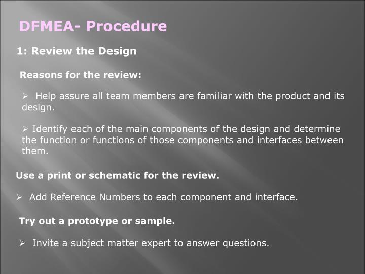 DFMEA- Procedure