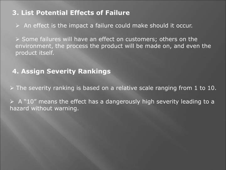 3. List Potential Effects of Failure
