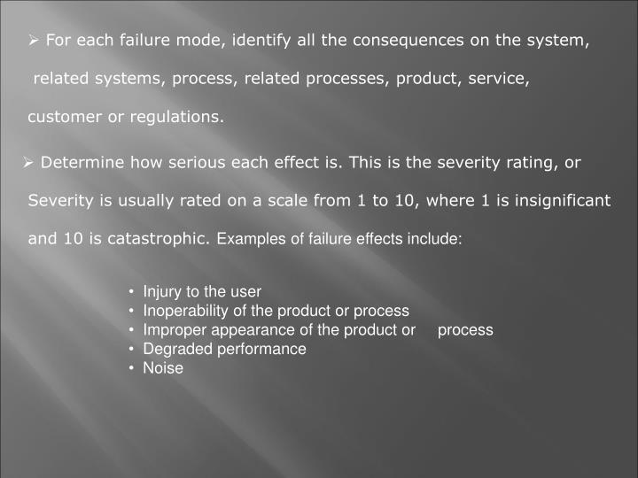 For each failure mode, identify all the consequences on the system,