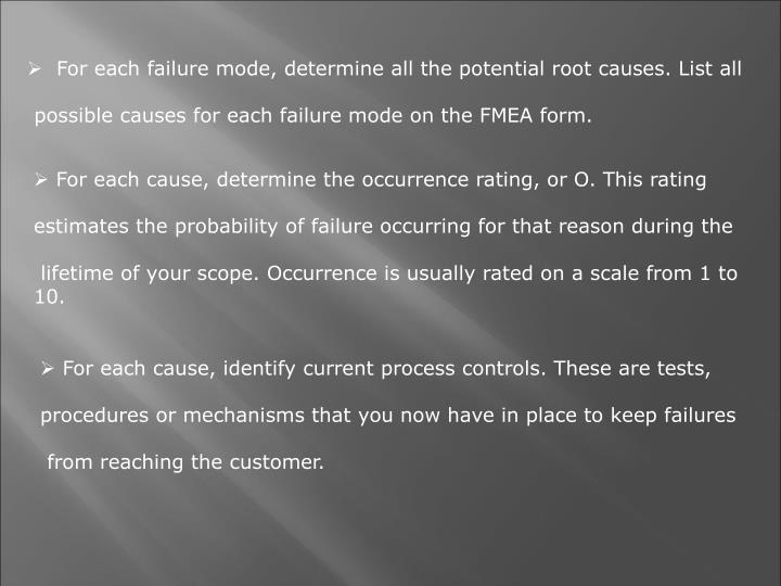 For each failure mode, determine all the potential root causes. List all