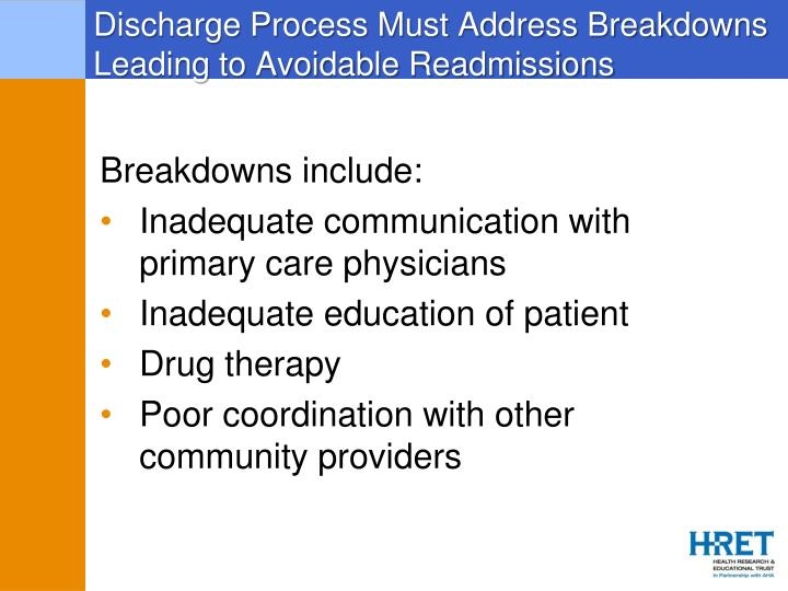 Discharge Process Must Address Breakdowns Leading to Avoidable Readmissions