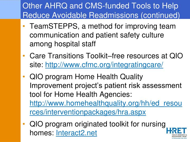 Other AHRQ and CMS-funded Tools to Help Reduce Avoidable Readmissions (continued)