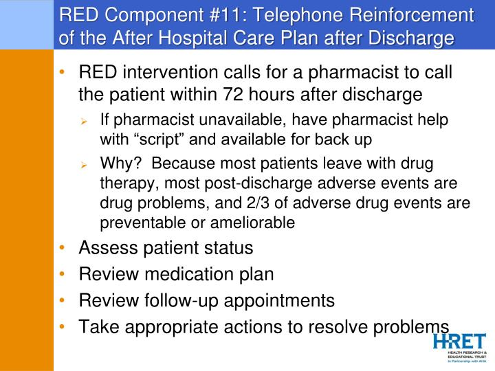 RED Component #11: Telephone Reinforcement of the After Hospital Care Plan after Discharge