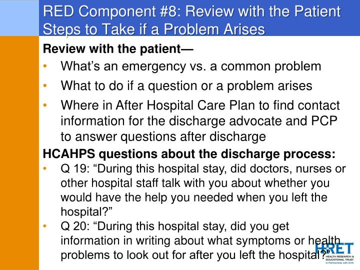 RED Component #8: Review with the Patient Steps to Take if a Problem Arises