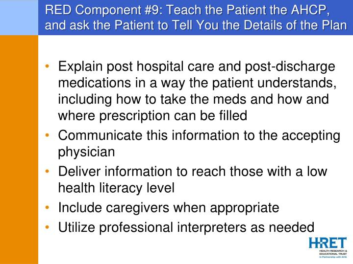 RED Component #9: Teach the Patient the AHCP, and ask the Patient to Tell You the Details of the Plan