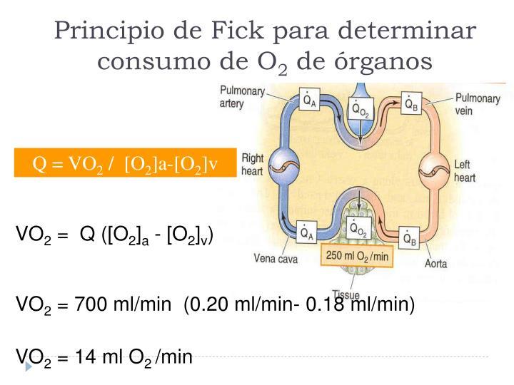 Principio de Fick para determinar consumo de O