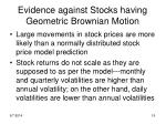 evidence against stocks having geometric brownian motion