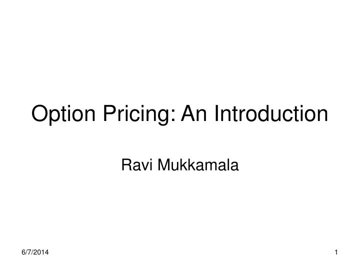 option pricing an introduction n.