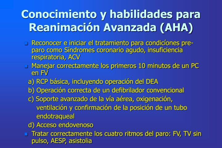 Conocimiento y habilidades para Reanimación Avanzada (AHA)
