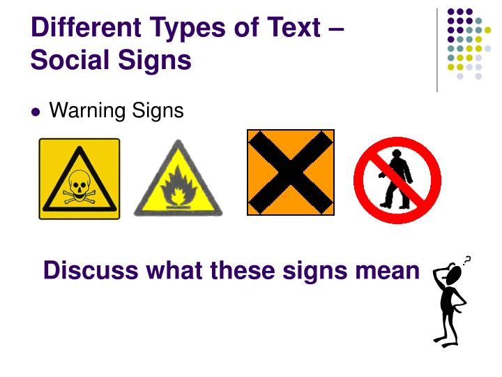 Different types of text social signs
