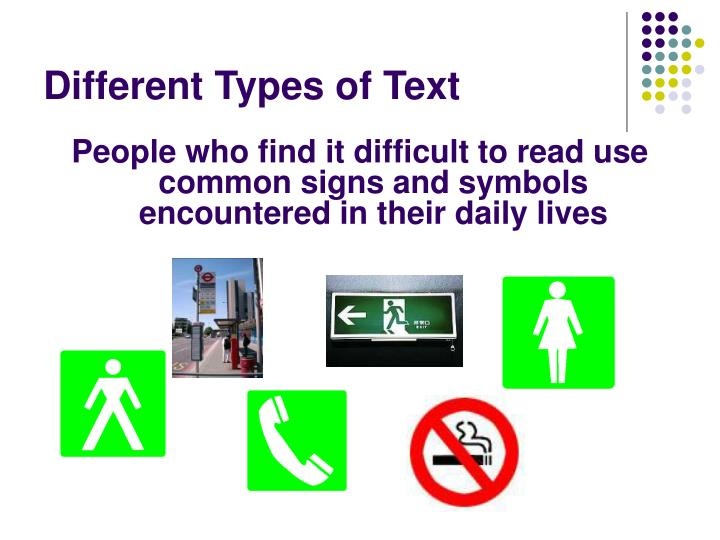 Different types of text1